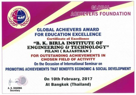 Global Achievers Award Certificate